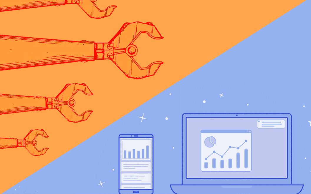Illustated image of robotic arms with mobile and desktop icons showing charts and graphs