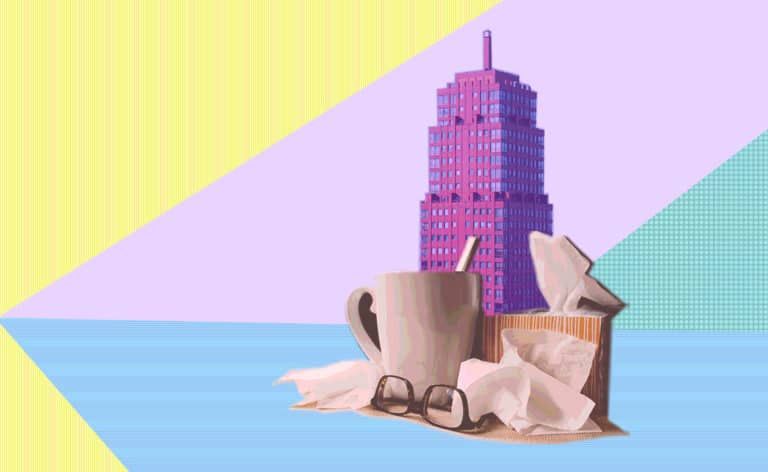 Illustrated image of a building with a coffee mug, glasses and tissues