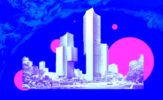 Illustration of city buildings with a blue background and 4 pink circles varying in size